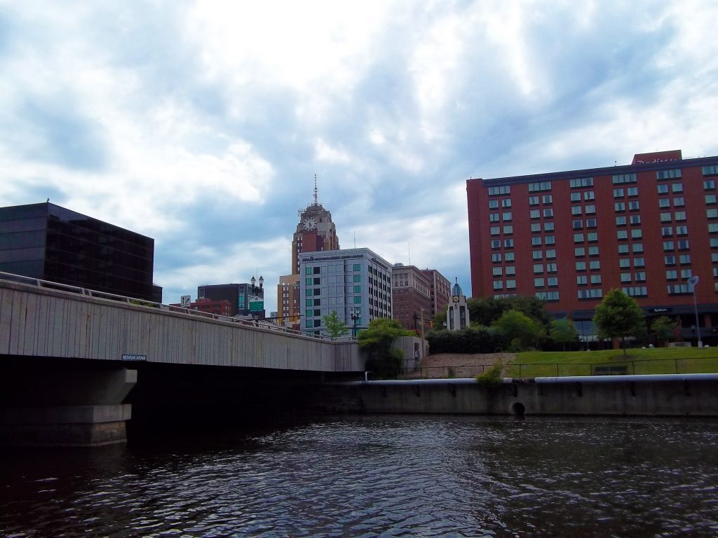 Downtown Lansing looking west over the Grand River