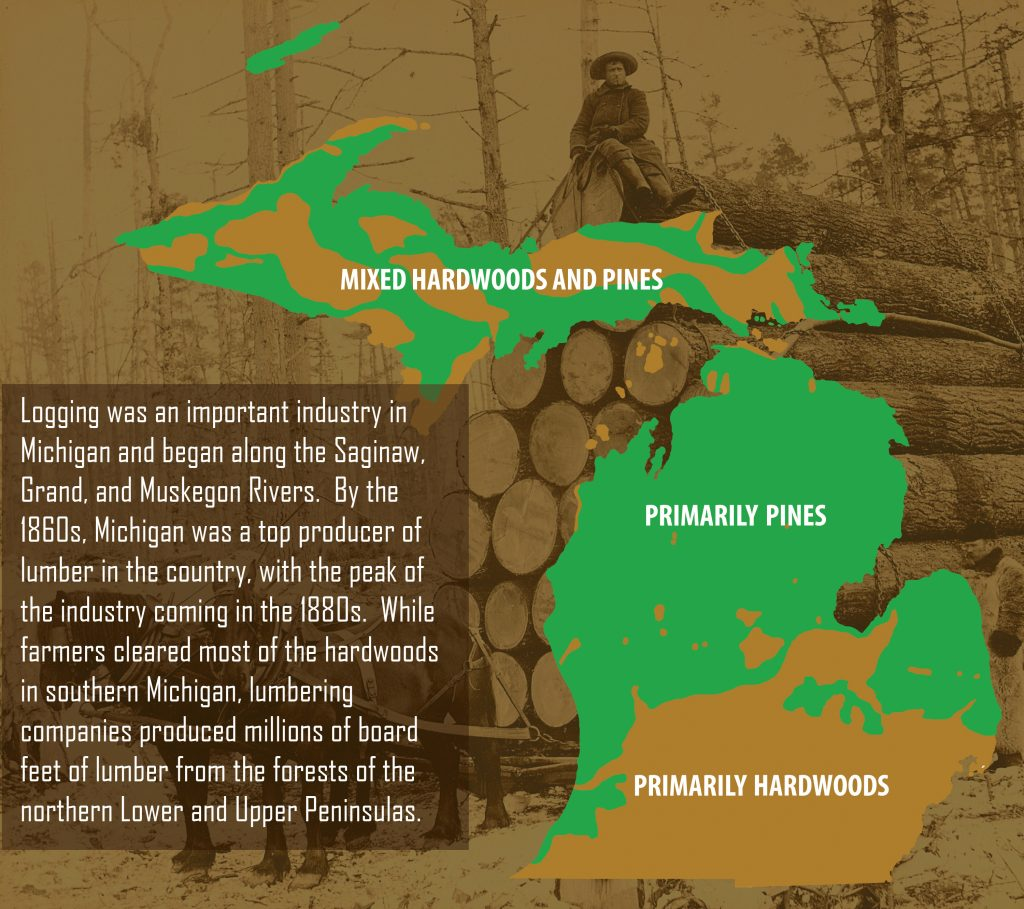 Michigan Logging. Illustration by David Siwik.