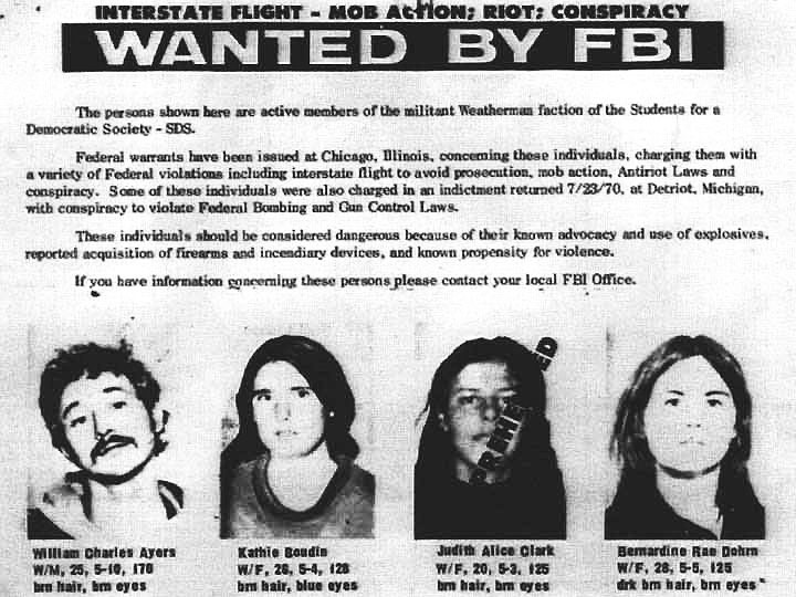 Weathermen members of the SDS FBI Wanted Poster. Photo Credit: SDS-1960s.org