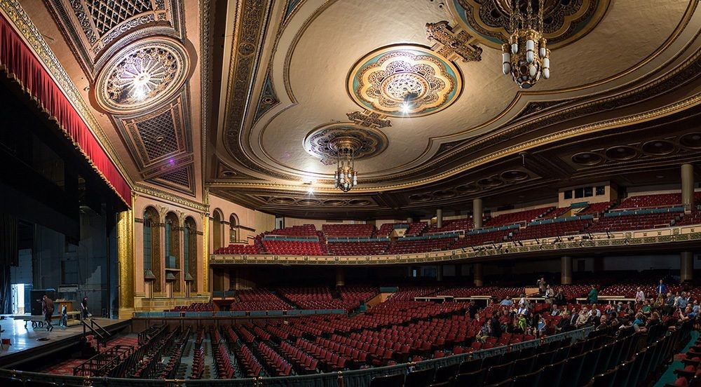 A look at the seating in one of the theaters in the Masonic Temple, Detroit, MI, photograph by Chris and Michelle Gerard.