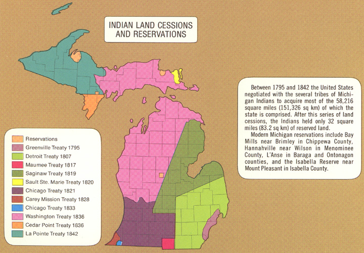 Map of Indian Land Cession Treaties in Michigan
